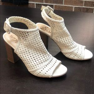 Sam Edelman White caged block heel.